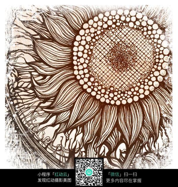唯美向日葵手绘图案