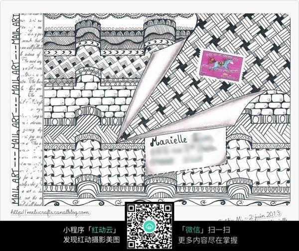 屋顶建筑花纹 手绘黑白装饰画 复杂传统花纹插图 民族植物花卉插画 jp