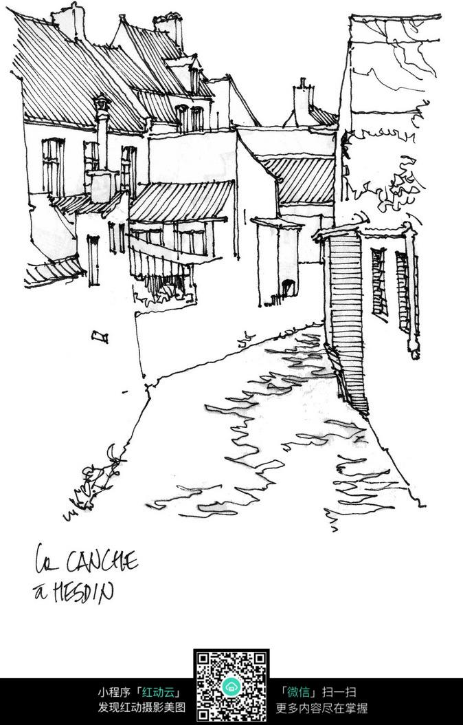 乡村建筑小路手绘线描图图片