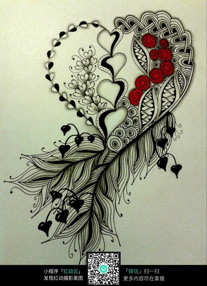 心形花朵创意手绘插画图片