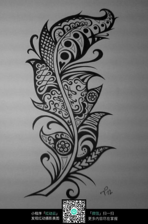 叶子黑白插图设计