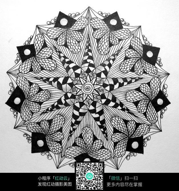 圆形创意手绘插画图案