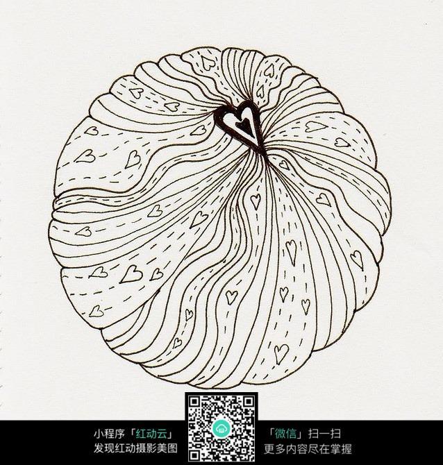 圆形黑白爱心插画设计