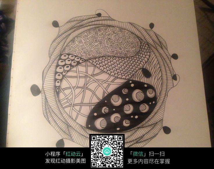 圆形黑白手绘排线jpg格式图片素材图片