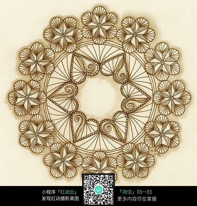 圆形花朵花纹 手绘黑白花纹