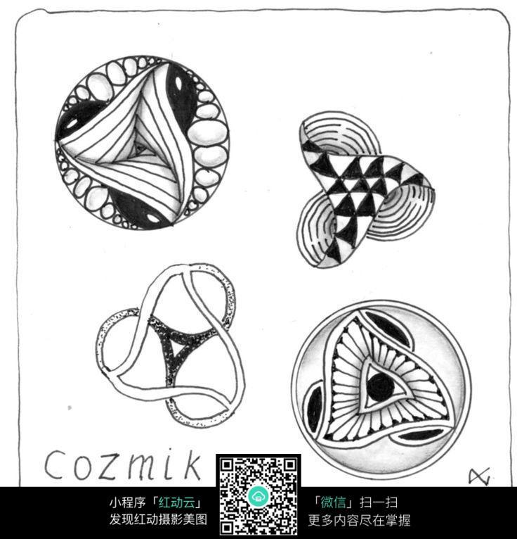 圆形手绘花纹素材