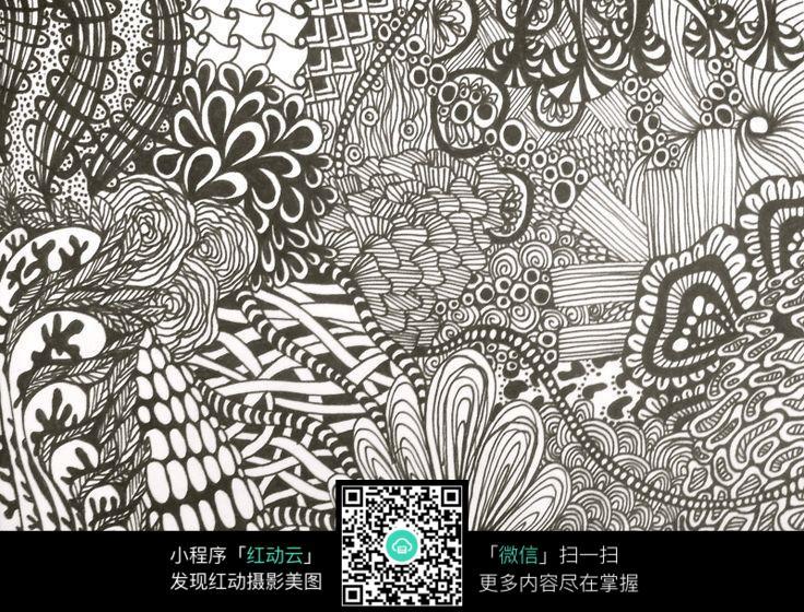 植物线条黑白插画设计