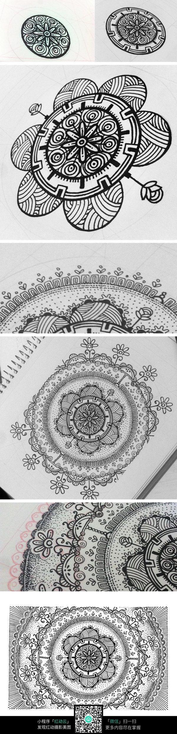 中国风手绘花卉插画
