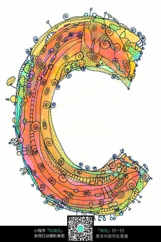 字母c的创意手绘插画设计