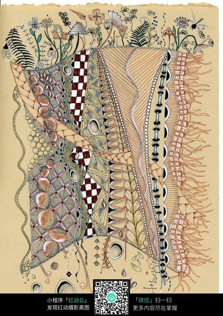 布料植物手绘插画设计