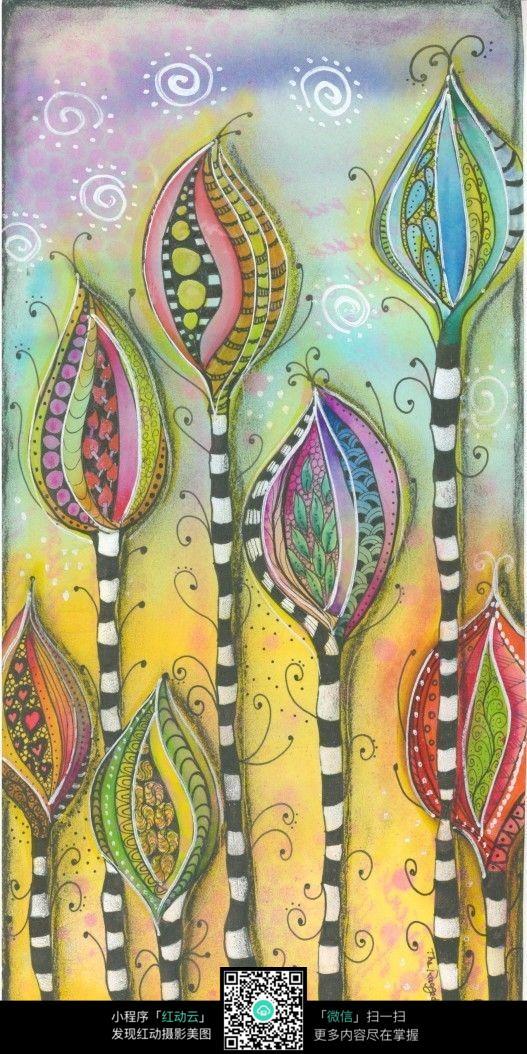 彩色彩铅大树手绘插画设计图片