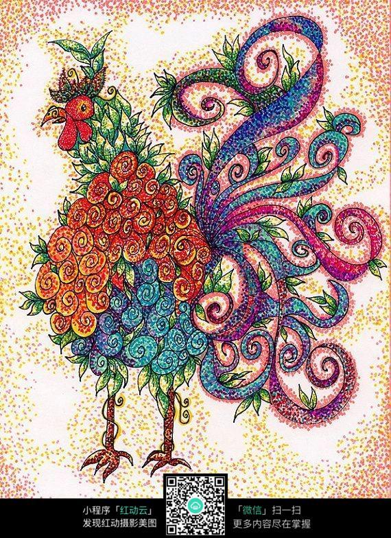 彩色花纹大公鸡装饰画图片