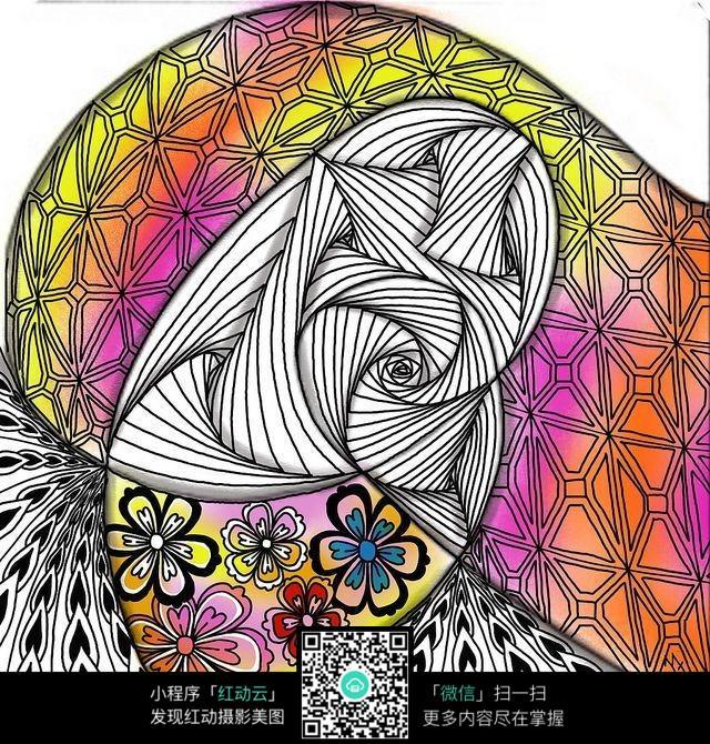 彩色线条手绘插画