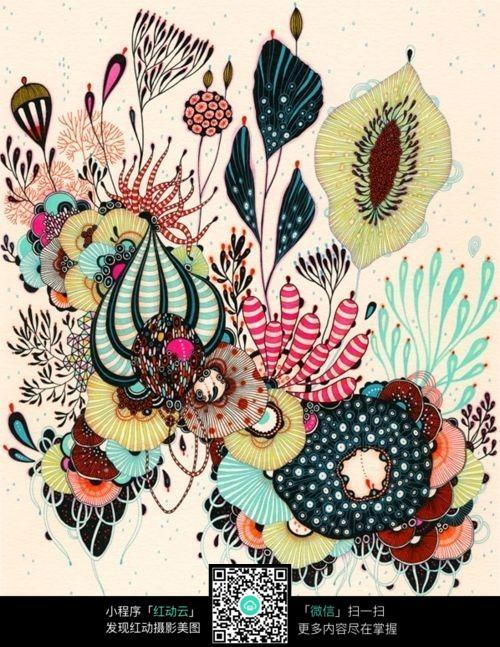 彩色植物花朵装饰画