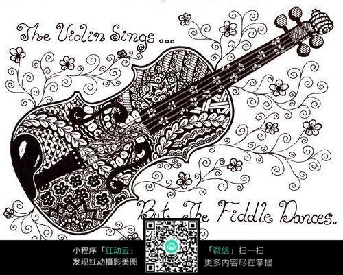 抽象吉他纹理手绘插画设计