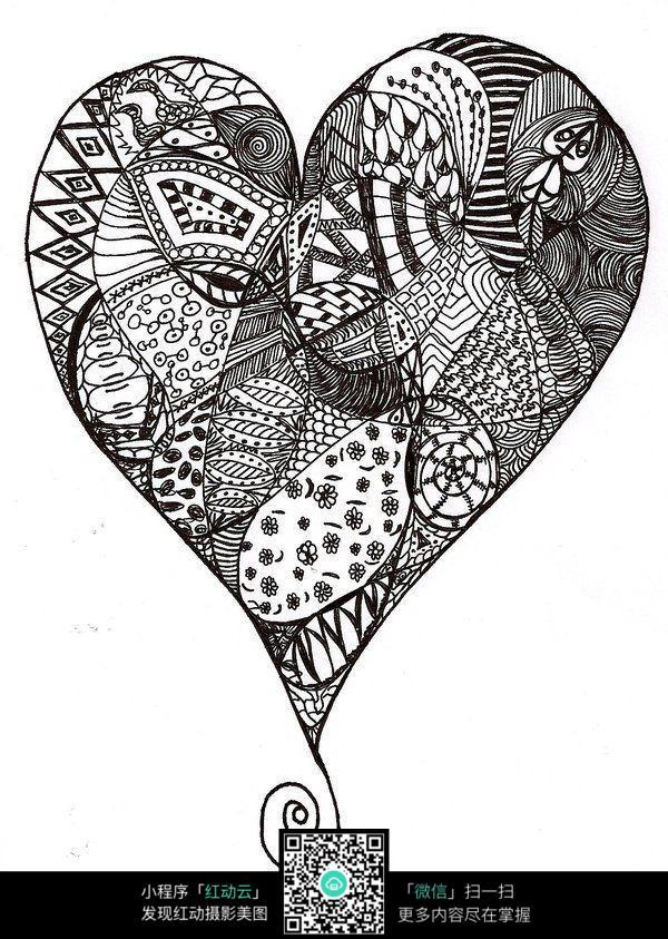 创意爱心图案手绘插画设计