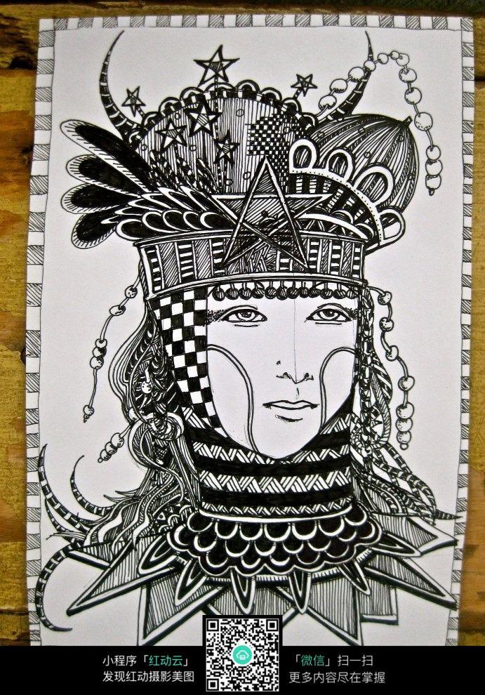 创意人物头像手绘设计