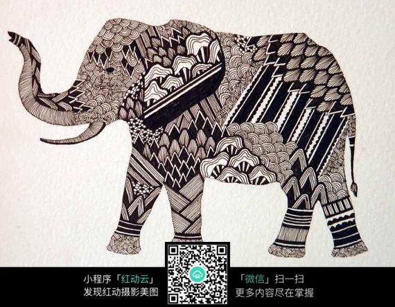 创意手绘插画动物大象