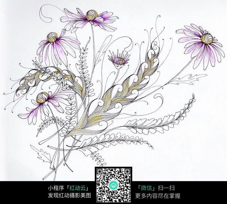 创意唯美花卉图案手绘插画设计