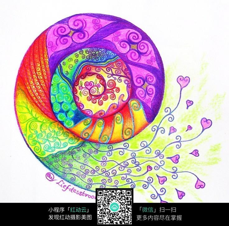 创意蜗牛手绘插画设计图片