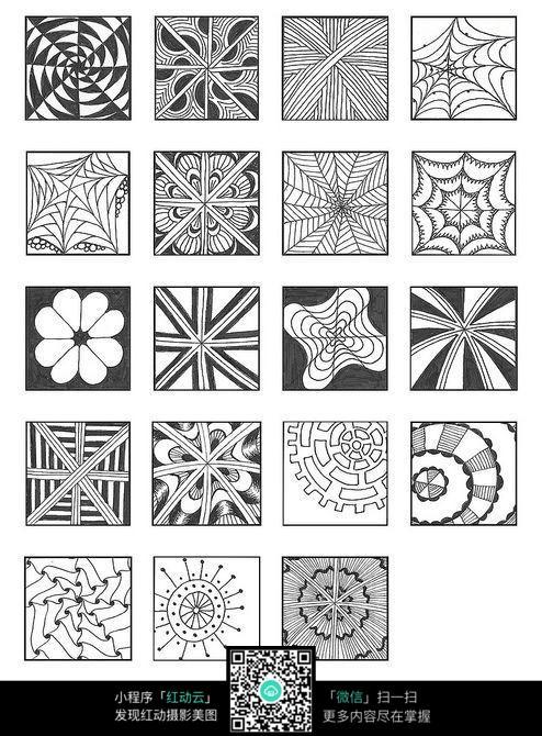 方形纹理布花手绘插画