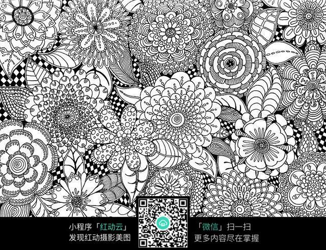 复杂手绘百花花纹图图片