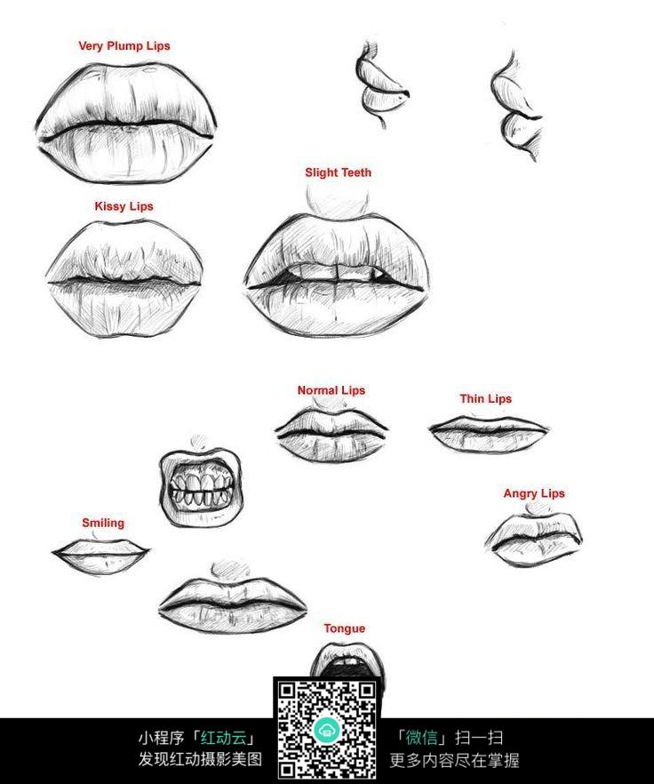 各种表情的嘴唇手绘图片