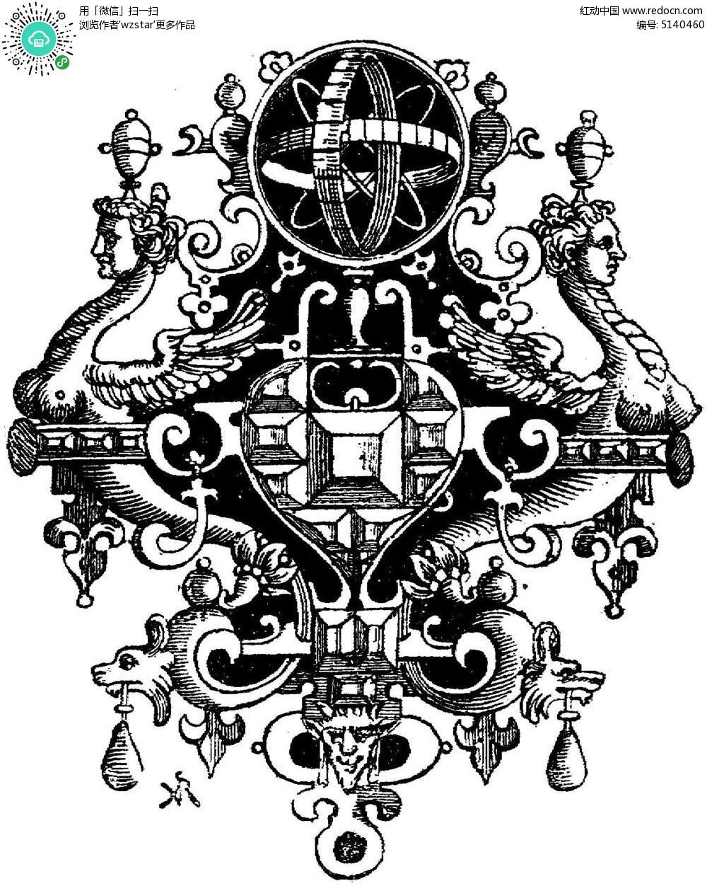 古典宗教装饰花纹图片