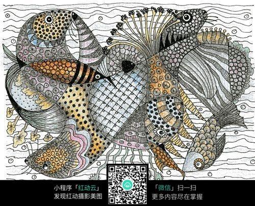 海底穿梭的鱼创意手绘插画