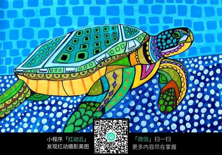 海底的乌龟原创彩色手绘插画