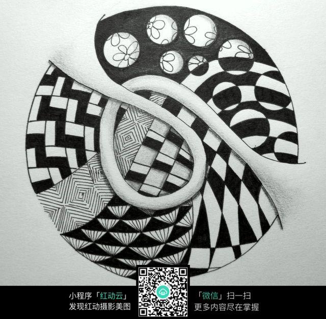 图形 黑白 条纹 线条 小球 创意 手绘 构成 设计