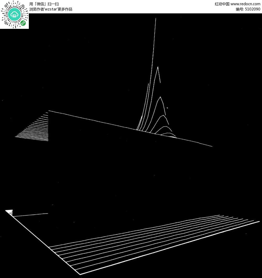 黑白立体几何线条