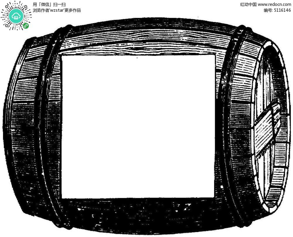 黑白木桶酒桶边框