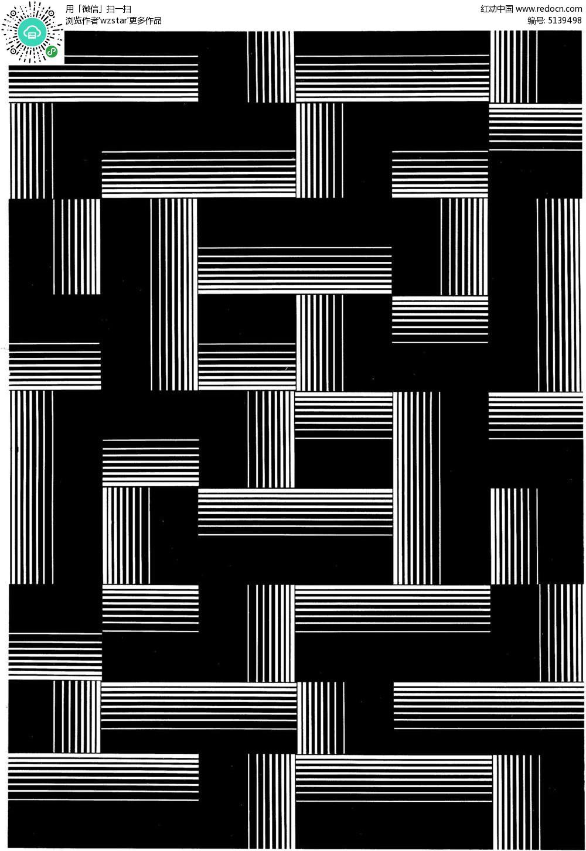 黑白线条迷宫花纹