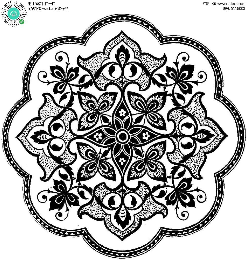 黑白圆形古典花纹图片图片