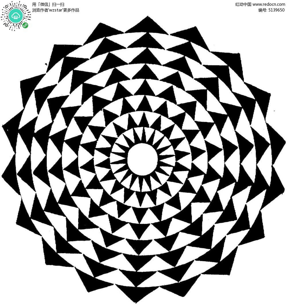 黑白圆形三角花纹