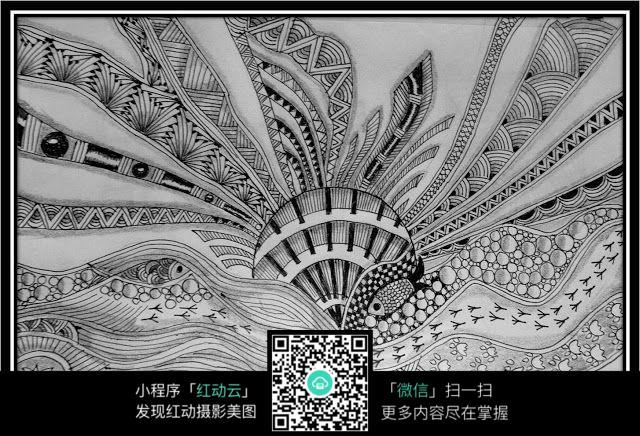 河流黑白手绘插画设计
