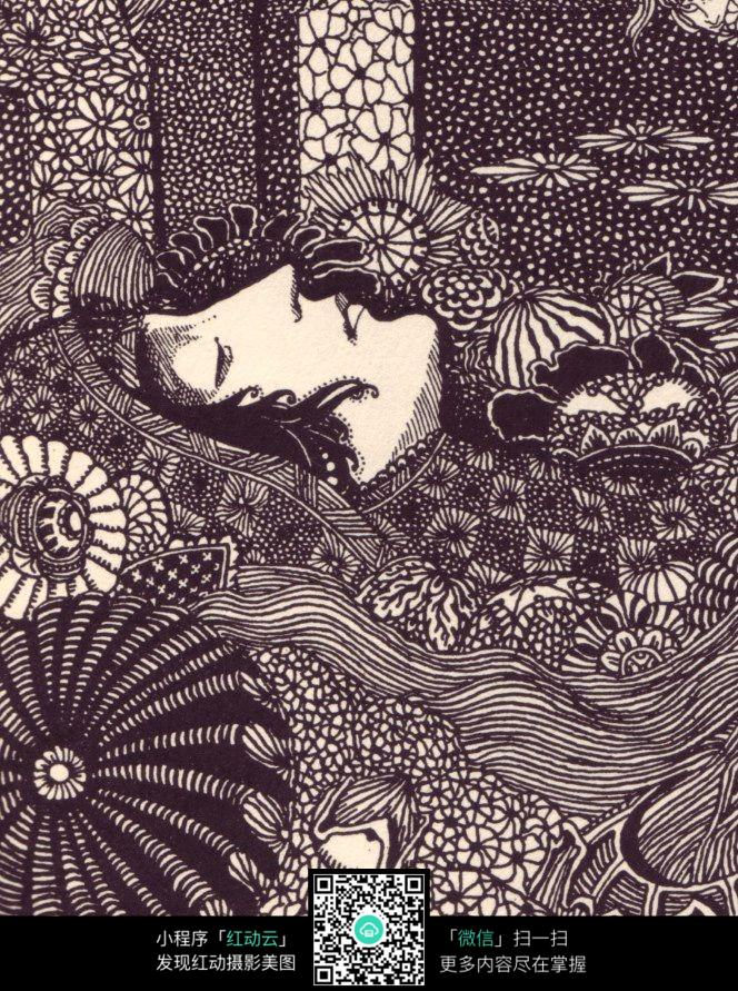 手绘 插画 设计 格式 花丛 美女 侧脸 发饰 jpg  女性