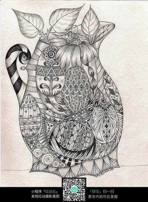 花瓶 花纹 图案 设计 形象 手绘 黑白 构成 雅致