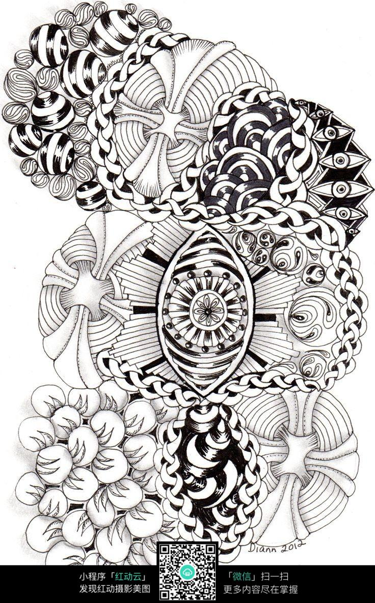 花朵 花纹 图案 精美 手绘 黑白 构成