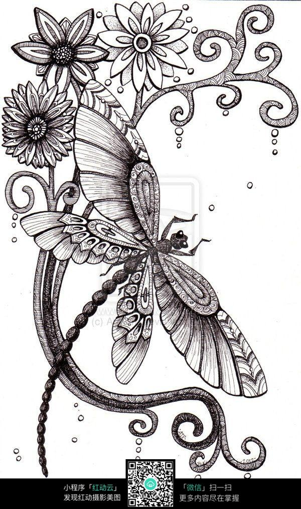 蝴蝶采蜜手绘插画图案设计