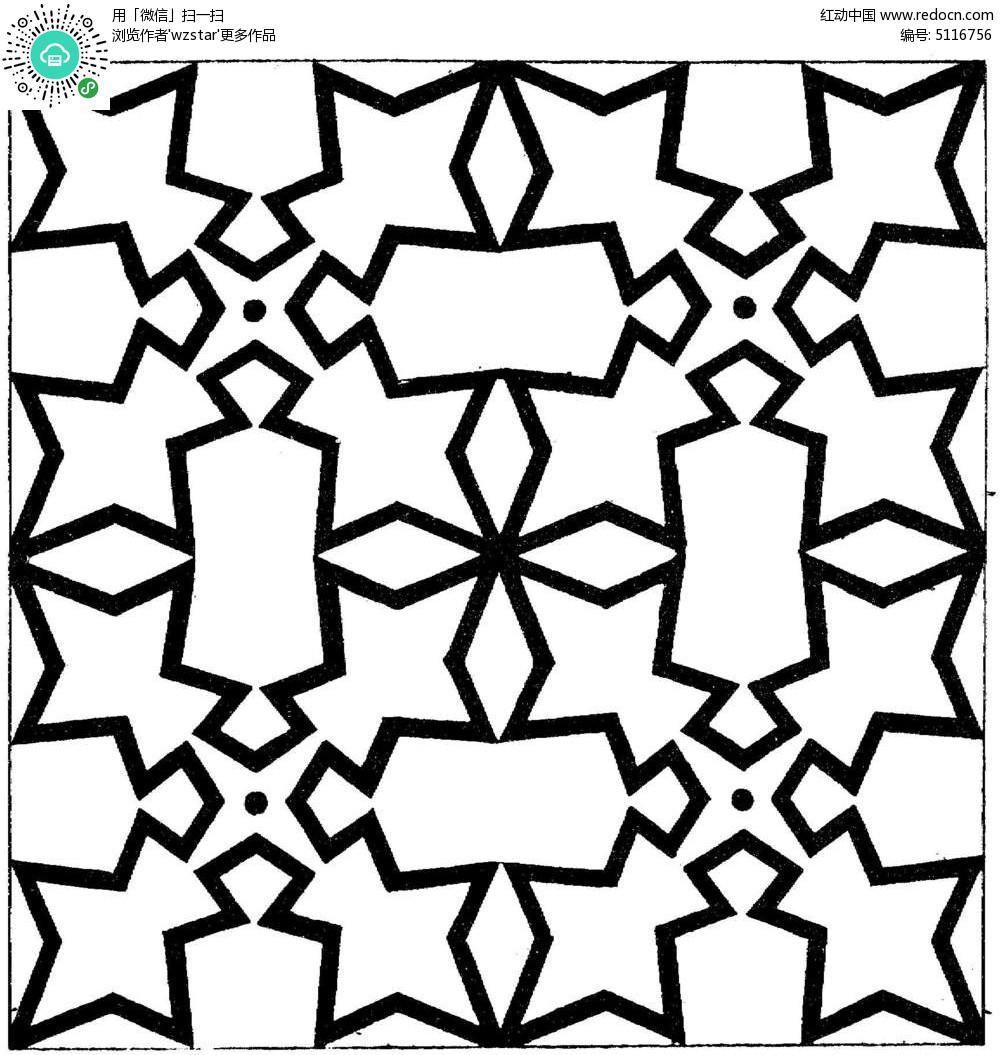 简约几何星形线条花纹图片