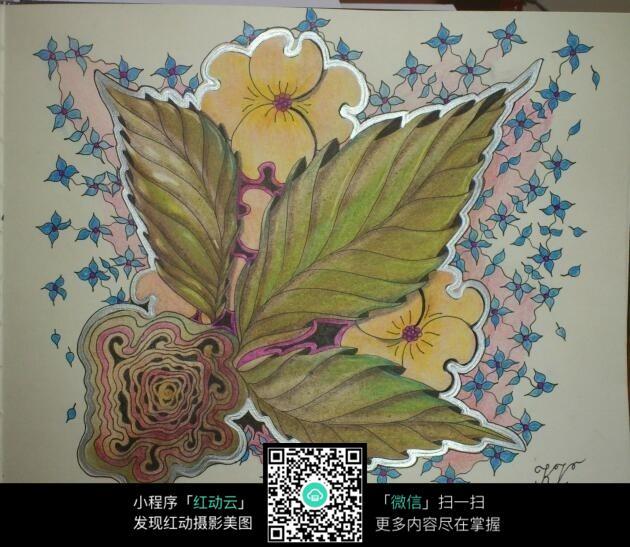 剪纸花朵彩铅手绘插画设计
