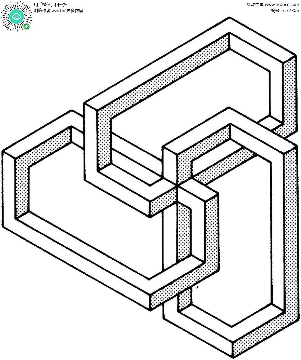 空间六边形立体图