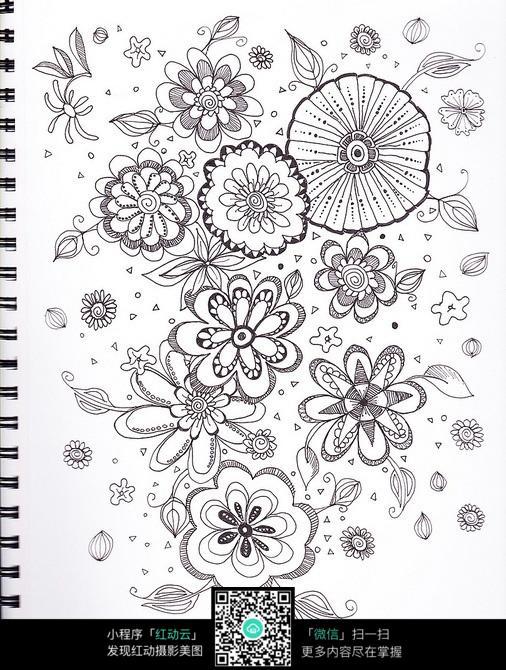简单手绘花朵黑白