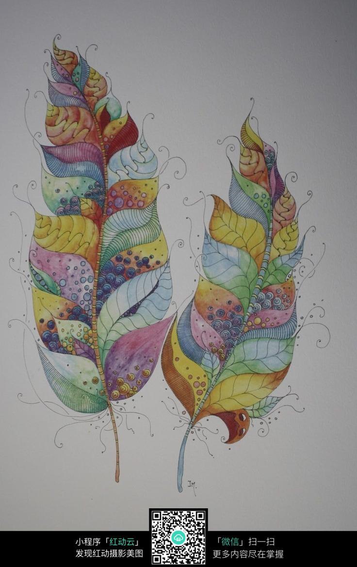 两片彩色叶子手绘插画