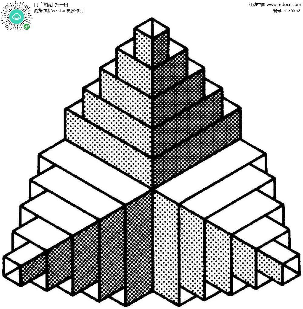 立体回型组合图 空间 立体 构成图