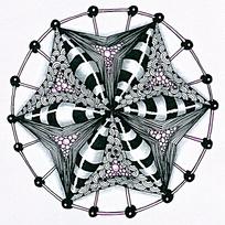 六角星菱形三维图案