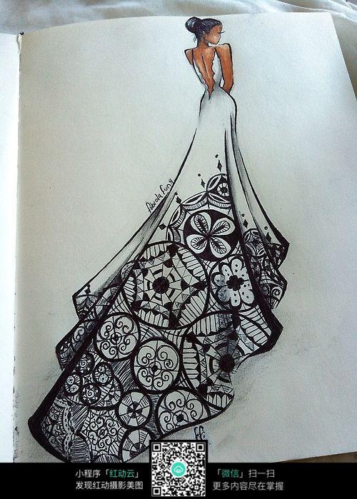 手绘婚纱女孩图片