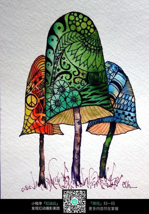 蘑菇树创意手绘插画设计